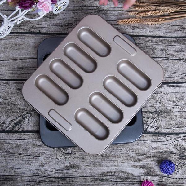 Revestimiento antiadherente de acero al carbono moldes para hornear Salud Extraíble molde de pastel de bricolaje 8 Continuo Bardian Hot Dog moldes oval 14yt dd