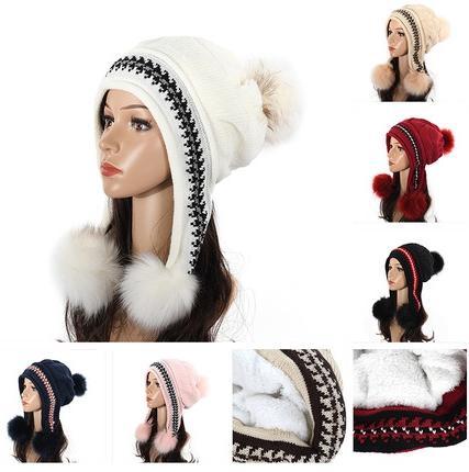 Mulheres de inverno de Lã Acrílica Lei Feng Chapéu Earmuffs Quente Engrossamento Bonito Dos Desenhos Animados Chapéu de Malha Chapéu de Inverno
