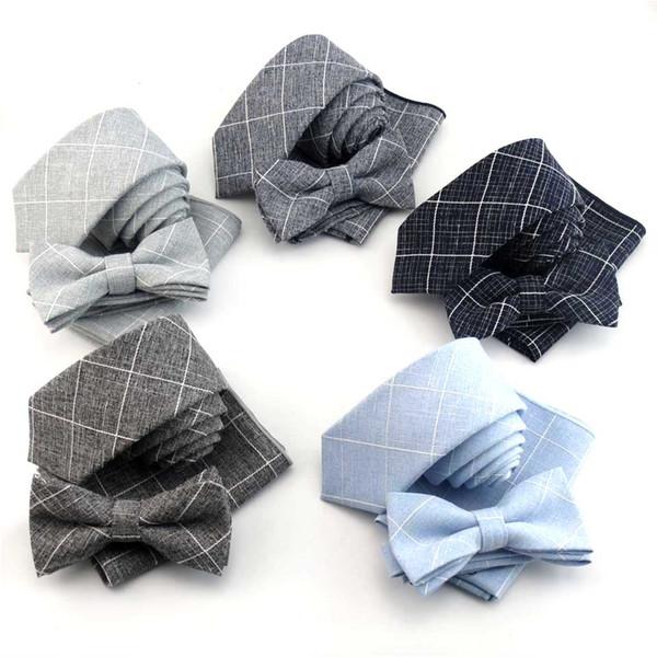 6 cm Plaid Baumwolle Krawatte Set Mens Krawatten Bowtie Taschentuch Schmale Krawatten Für Männer Hochzeit Anzug Hemd Kleid Gravata Slim