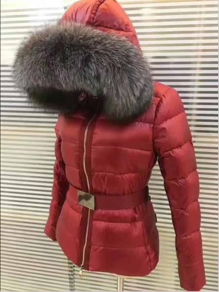 Women winter jacket ladie real fox fur collar duck down in ide warm coat femme with 419, Black
