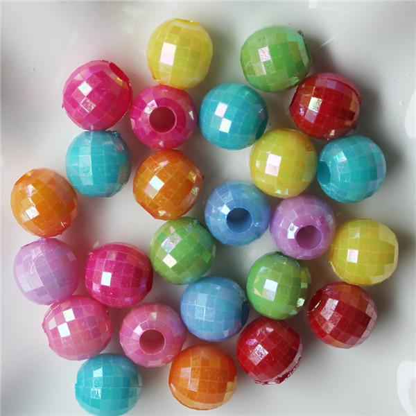 Mixed Faceted Acrylic Plastic Lucite Round Ball Spacer Beads 13 MM Pick Size For Jewelry Making
