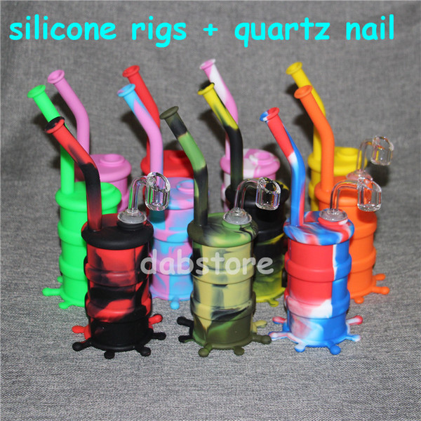 Hookah Silicone Barrel Rigs Mini Silicone Rigs Dab Jar Bongs Jar Water pipe Silicon Oil Drum Rigs with quartz nails free shipping