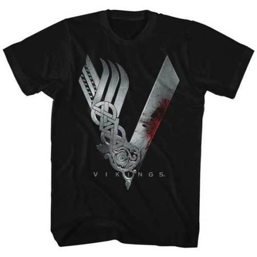 Vikings Awesome Vikings Logo Licensed Adult T Shirt History Drama Series Retro 100% Cotton Print Shirt Tee