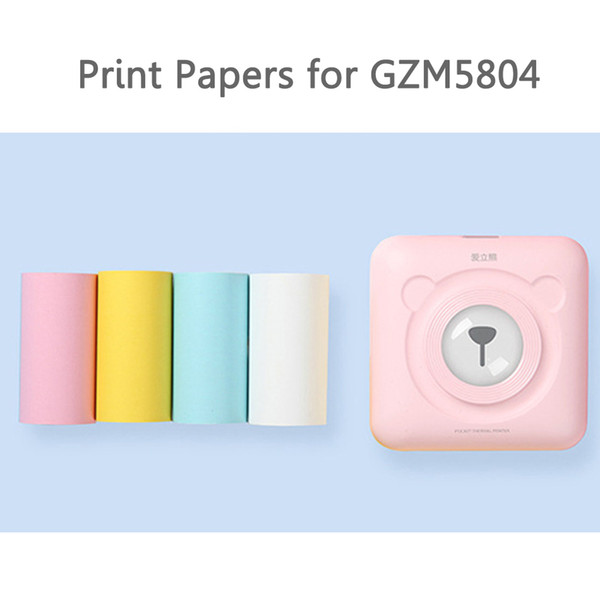 Etiqueta engomada de papel de la etiqueta térmica de papel amarillo rosado azul blanco para GZM5804 Impresora térmica portátil con Bluetooth (sólo papel anotado)
