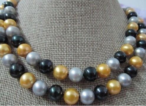 2row природных 9-10 мм Южное море черный серый желтый жемчужное ожерелье 14 K Золотой Клас@