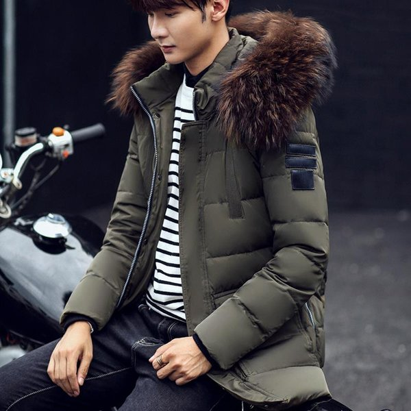 Luxury Duck Down Jacket Men Hight Quality Solid Color Long Down Coat Male With Fur Collar Fashion Double Pocket Jacket Men Winte