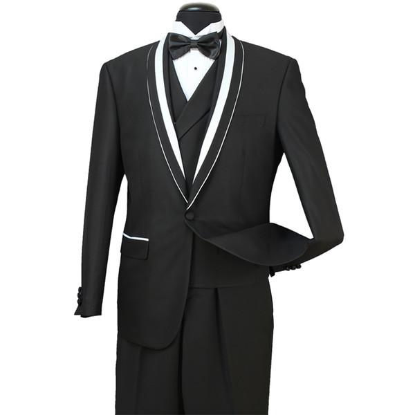 2018 In Stock Mens Formal Wedding Suits Groom Groomsmen Tuexdos Business Wear Shawl Lapel 3 Pieces (Jacket+Vest+Pants) ST007