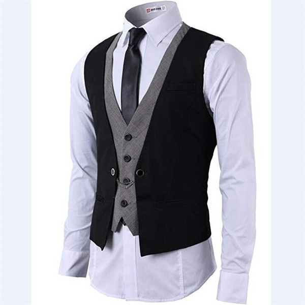 2018 wanshandress army green grey patchwork slim groom wedding vests custom fashion v neck single breasted men casual vests for men suits
