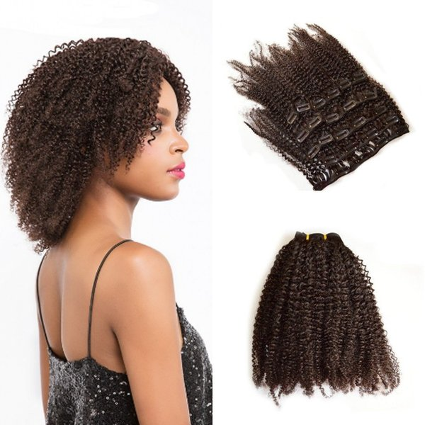 Indian Remy Afro Kinky Curly Hair Clip in Human Hair Extensions 7 Pieces/Set 120G FDshine