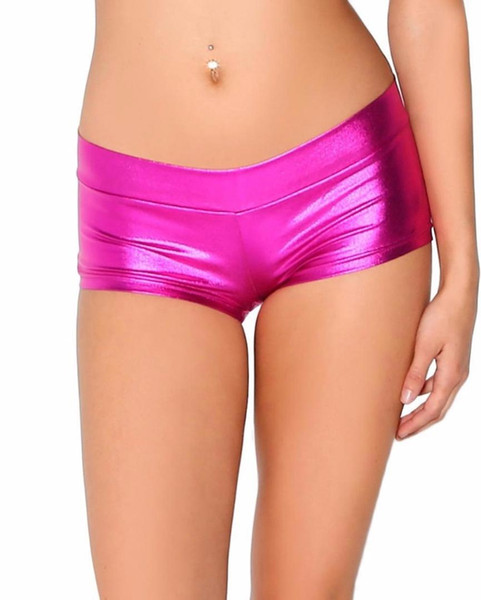 Womens Low Waisted Sexy Lycra Metallic Rave Booty Dance Shorts Spandex Shiny Pole Dance Shorts Gold Silver For Stage