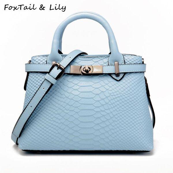 4cb016ebdd FoxTail & Lily Crocodile Embossed Leather Handbags Brand Designer Women  Genuine Leather Shoulder Bags Small Female