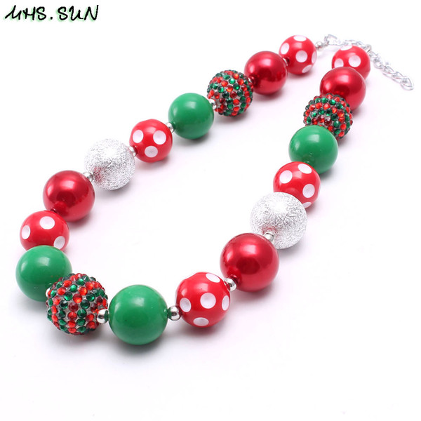 New Designable Kid Chunky Necklace Jewelry Green+Red Color Christmas Gift Bubblegum Beads Chunky Necklace For Children Girls