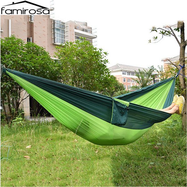 Camp Sleeping Gear Portable Parachute Nylon Fabric Two Persons Hammock Hanging Sleeping Bed Parachute Nylon Fabric Outdoor Camping Hammocks