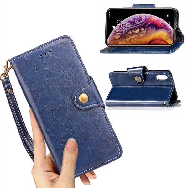 Vintage Leather Lanyard Wallet Pouch Shell Case for iPhone XS Max XR Back Cover 6.1 6.5 5.8 inch TPU Cases with Card Money Slots