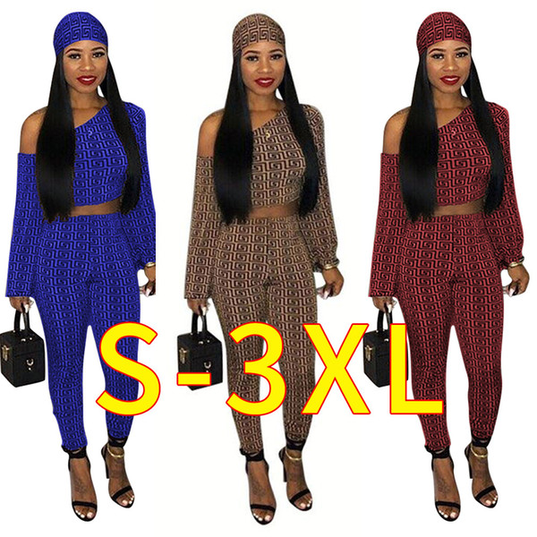 Women Hot Sale 3 Pieces Casual Set Solid Color One Shoulder Crop Top and Pants with Scarf Female Fashion Outfit Clothing Clothes