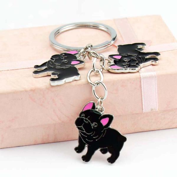 Nouveau Pet Bulldog Charmes Porte-clés Chien Tag Keychains Femme Voiture Porte-clés En Gros Métal Chaîne Pendentifs Porte-clés Hommes Cadeau