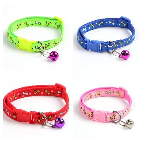 Small dog cat Nylon Dog Puppy Cat Collar Breakaway Adjustable Cats Collars with charm Bell and printing Bone width 1.0cm