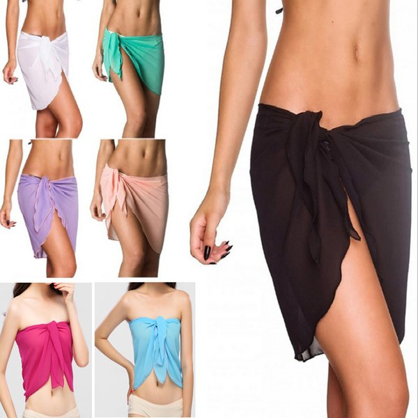 10 colors sexy swimwear women beach skirt solid color chiffon cover up bikini wrap beach sarong for swim bathing suit swimsuit