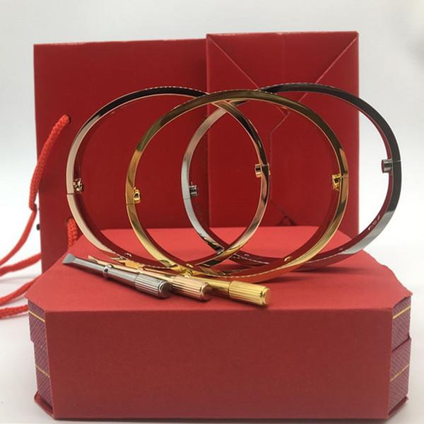 Titane acier amour bracelets argent rose or bracelets femmes hommes vis tournevis bracelet couple bijoux avec coffret d'origine
