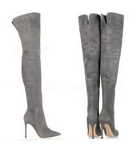 Toptan diz çizmeler üzerinde süet kadın yüksek topuk ince uyluk yüksek çizmeler gri kahverengi siyah kırmızı diz boyu ...
