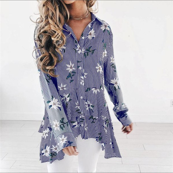 Women T shirt 2018 Women Striped Floral Button Down Asymmetrical Ruffle Hem Long Sleeve Cotton Tops Blouse Shirt
