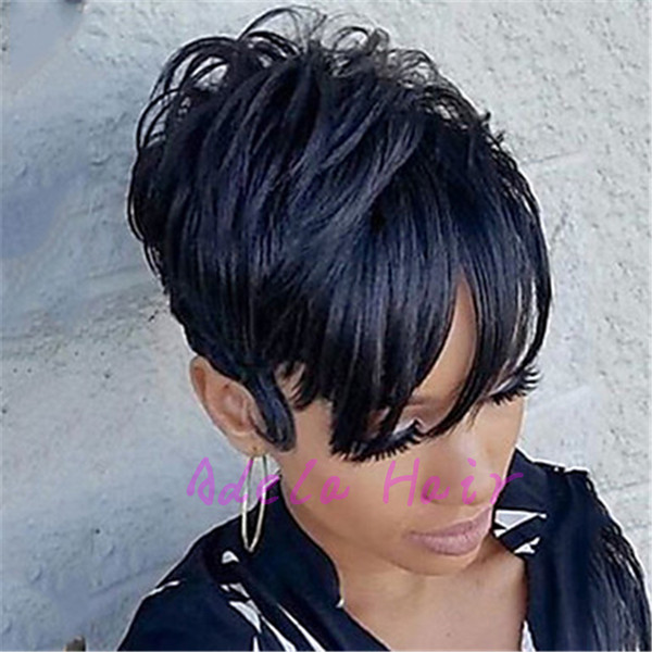 pixie Cut half hairstyles full machine made wigs full lace front wigs short hair Brazilian virgin straight human hair wigs for black women