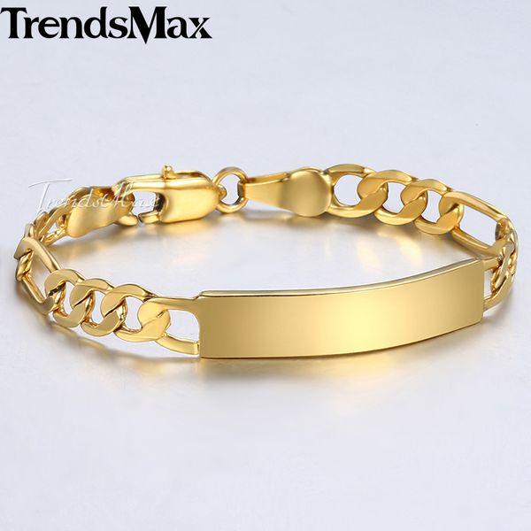 Trendsmax Bracciale da bambino in oro pieno di catena Figaro Smooth Bangle Link ID Bracciale per bebé Bambino Ragazzi ragazze 5mm 11.5cm KGBM100