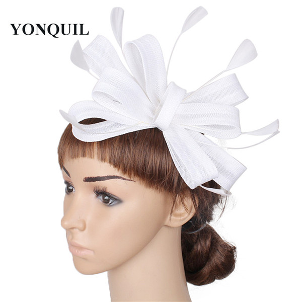 NEW ARRIVAL 17 colors imitation linen fascinator hats bowknot cocktail hat bridal wedding headwear beauty black Derby hair accessories SYF55
