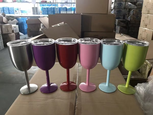 Cheapest!!! 10oz Wine Glasses Vacuum Insulated stainless steel wine Goblet Cocktail and Beverage Cups 10 color