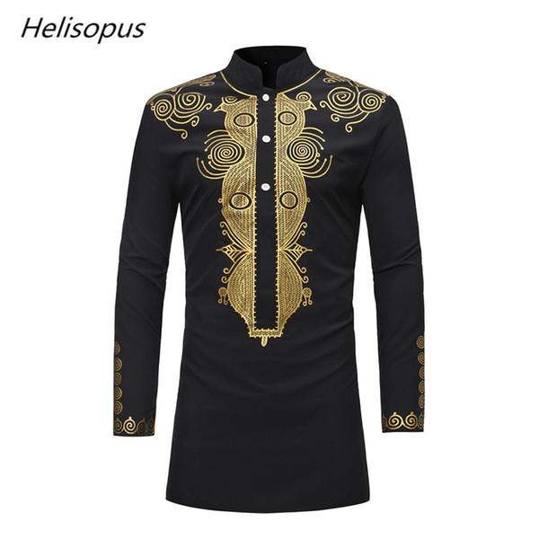Helisopus Männer Afrikanisches Design Gedruckt Dashiki Shirts Vintage Langarm Herbst Shirts Männer Traditionelle Bedruckte Hemd Tops