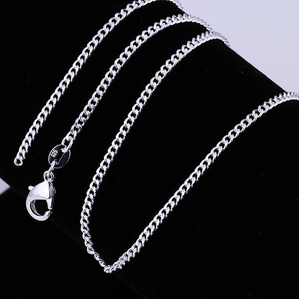 925 Sterling Silver plated Necklaces 2MM Flat Curb Chains Necklace Fit All Pendant Necklace Mix Size 16-24inch Chain Good Gift
