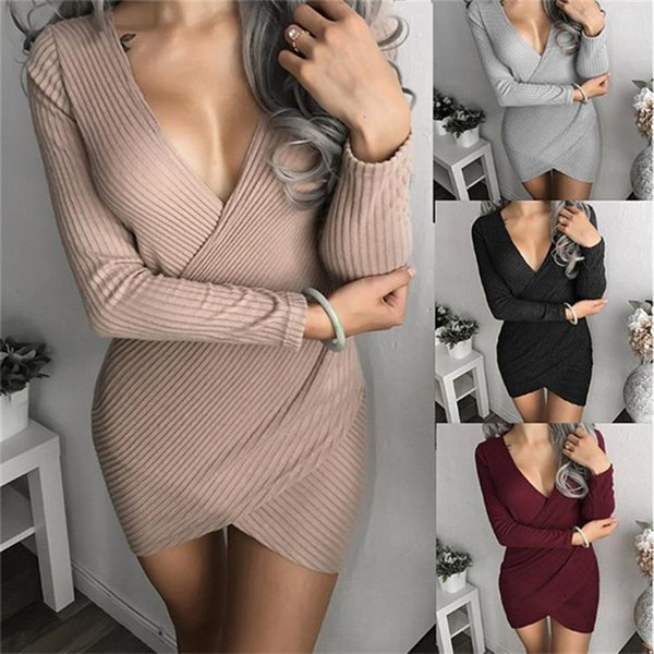 2018 Printemps Eté Robes Populaires Slim Sexy Maigre V-Neck Dress Sexy Night Club Ladies Tight Pack Hip Robe À Manches Longues