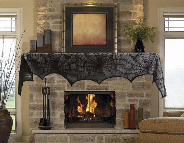 Celebrate Halloween Black Lace Spider Web Tablecloth Oblong Table Cloth Table Cover Table Decor Party Decoration Fireplace Cover atmosphere