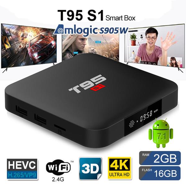 T95 S1 TV BOX Amlogic S905W Android 7.1 quad core box TV forte WiFI Lan di alta qualità smart android tv box media player in vendita