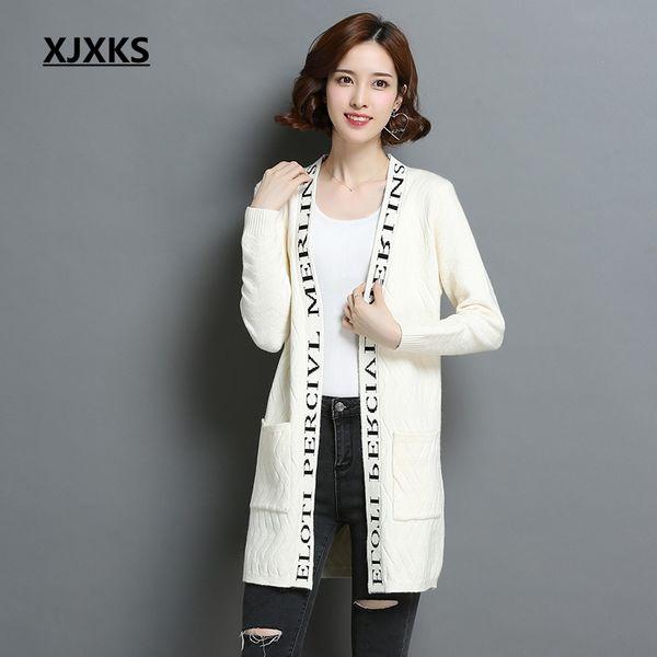 Long Tricot Casual XJXKS Cardigan Blanc Poche Femmes Pull Cardigan Chaud Jumper Long Cardigan Femme Pull Y9H2IeWED