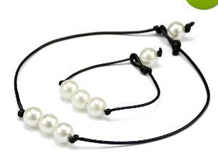 Brand New Women's Fashion Hand Made high luster Freshwater Pearls Leather Rope Chain Simple and elegant Bracelet Necklace