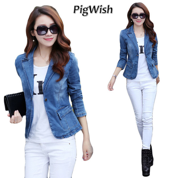 Hot 2018 Elegant Jackets For Women Denim Blazer Short Fashion Slim Blue Suit Coats Plus Size Female Jacket Designs Blazers 3XL S18101304