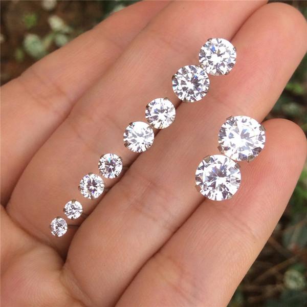 Orecchini in argento sterling 925 genuini per le donne tondo CZ Pietre di cristallo Mens piccolo 3 4 5 6 7 millimetri orecchini zirconi cubici