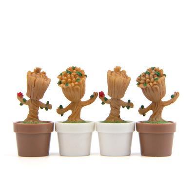 Guardiões da galáxia da maravilha q edição groot vaso de flores figura diy micro paisagem multi-carne jardinagem musgo paisagismo boneca