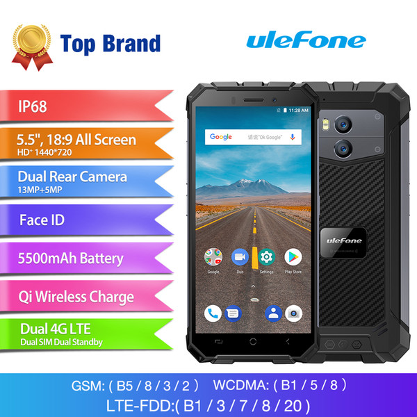 "Ulefone Armor X 2GB 16GB IP68 Waterproof Smartphone 5.5"" HD Android 8.1 Quad Core 13MP Wireless Charge NFC Face ID 5500mAh P68 Mobile Phone"