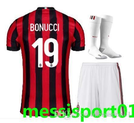 quality design f47b7 f13e5 2017 With Socks Ac Milan Adult Full Kit Home Away Third Soccer Jersey Men  Kit 2017 2018 Milan Bonucci Menez Away 3rd Football Shirt Uniforms From ...