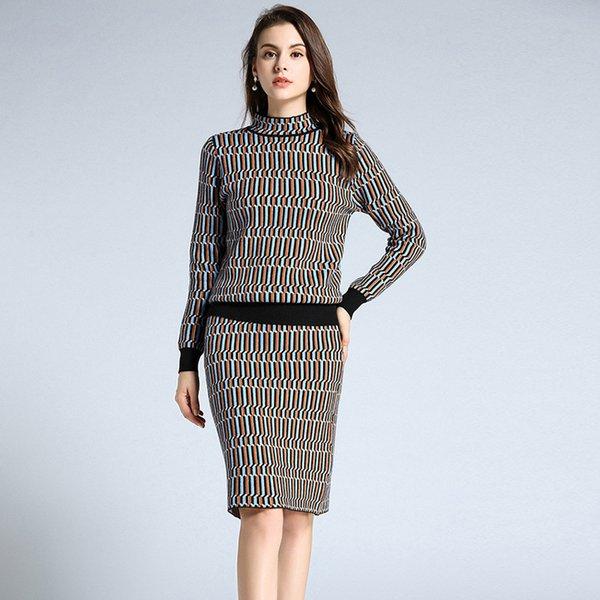 OL Formal Suit Dresses Women Turtleneck Long Sleeve Knitting Dress High Waist Vintage Plaid Bodycon Skirts