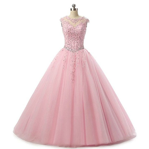 Pink Ball Gown Quinceanera Dresses 2019 Vestidos De 15 Anos Tulle Lace-up Sweet 16 Dress