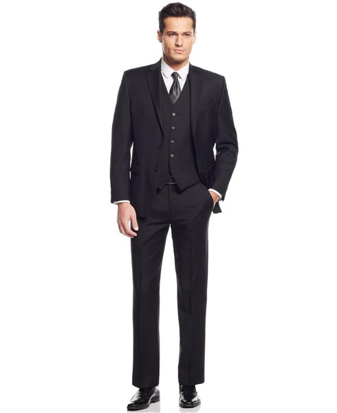 Custom Made 2018 New Groom Tuxedos Wedding Groomsman Suit Groomsman Bridegroom Suits (Jacket+Pants+Vest) Formal Prom Party Suits For Men