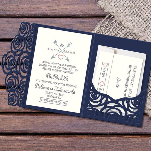 European 2018 Laser Hollow Wedding Inviitation Cards Customization