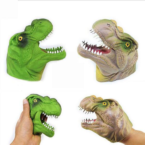 Dinossauro Mão Fantoche Animal Mão Cabeça Boneca Figura Brinquedos Luvas Jogar Truques Engraçado Jogos de Aniversário Novidade Crianças Brinquedo Modelo Presente