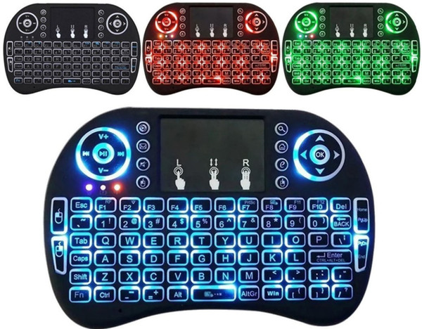 top popular Backlight Mini Wireless Keyboard 2.4GHz Fly Air Mouse With Touch Pad Remote Control for PS3 Xbox 360 Android Smart TV PC 2021