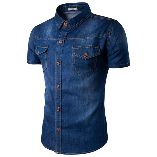Large Size Mens Denim Shirts Short Sleeve Shirt with Pockets on the Chest Large Size Turn Down Collar Dress Shirts M-5XL