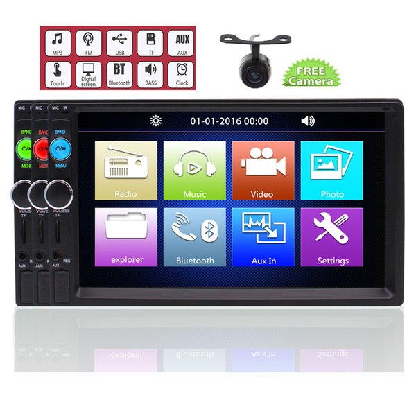 EinCar in Dash Double Din HD 7''Car MP5 Player USB/SD MP3 MP4 Video Music Playing Aux in 2Video out Headrests Bluetooth Hands