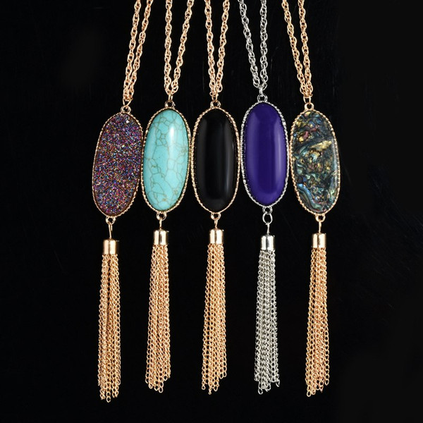 Fashion Gold Bezel Metal Tassel Necklace With Oval Resin Pendant Brand Design Long Necklace With 70cm Link Chains For Women Party Jewelry